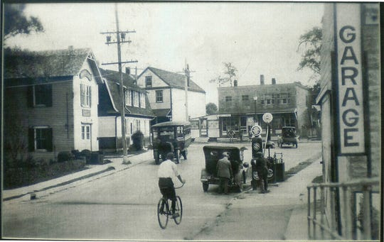 Oceanport soon after becoming a borough in 1920. The building in the left foreground housed the Oceanport Hook and Ladder fire engine on the first floor and the Borough Hall on the second floor until the early 1950s.  That building and the area behind it is where the town's Wharf Park is located today.