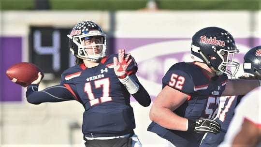 Denton Ryan quarterback Seth Henigan (17) throws a pass in the first half against Lubbock Coronado. Ryan beat Coronado 56-14 in the Region I-5A Division I area playoff game Saturday, Nov. 23, 2019, at ACU's Wildcat Stadium.