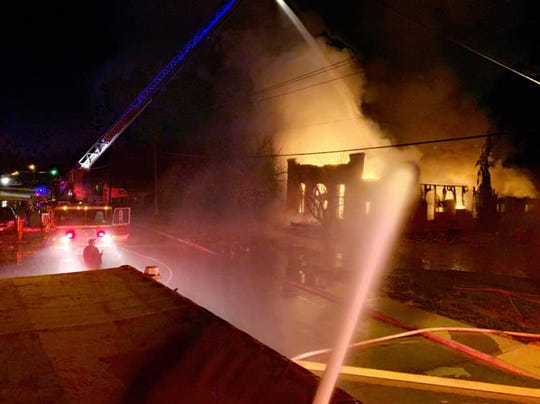 The Breckenridge Fire Department used two deck guns and one ladder aerial waterway to attack a fire that destroyed the shuttered Temple Beth Israel building on Sunday.