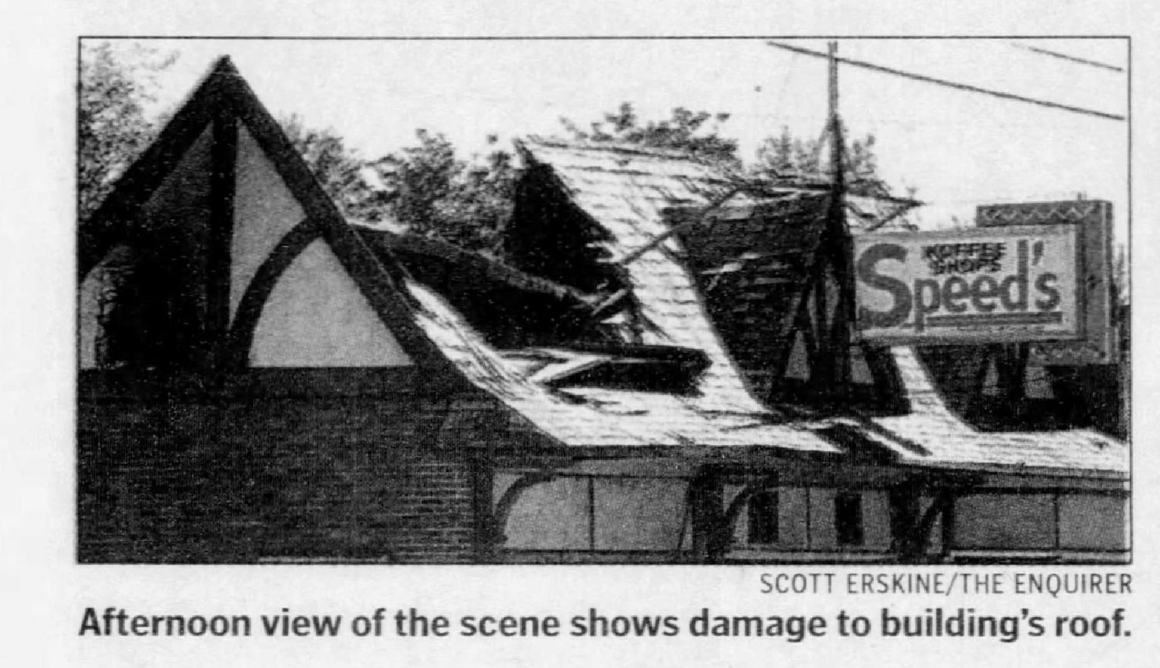 In this Sept. 17, 1999 photo in the Battle Creek Enquirer, the roof of Speed's Koffee Shop in the Verona neighborhood is damaged following a fire.