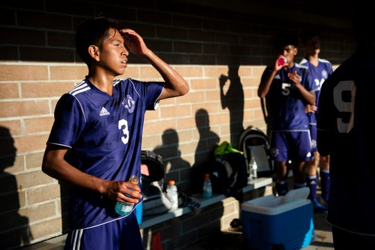 Lakeview freshman Angel Ramos (3) hydrates after playing Gull Lake High School in soccer on Tuesday, Sept. 17, 2019 at Lakeview High School.