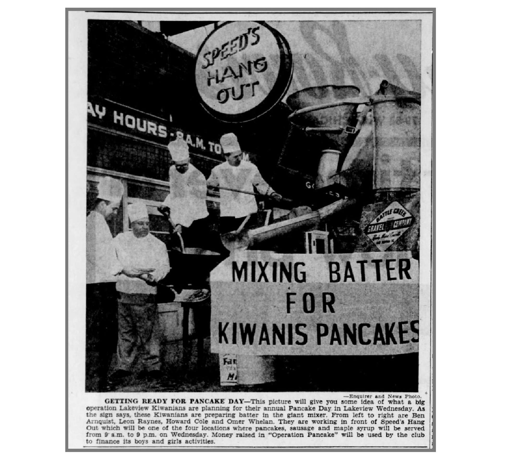 In this March 27, 1955 photo in the Battle Creek Enquirer, the Lakeview Kiwanians plan for Pancake Day in front of Speed's Hangout.