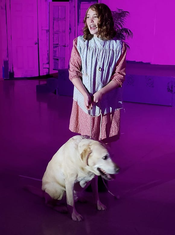 "Lily Nichols (with Coach, as Sandy) is one of two actresses double-cast in the title role of Paradise Theatre's ""Annie,"" running through Dec. 7."