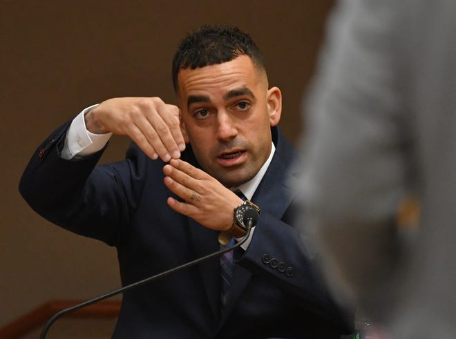 "Former BCSO Deputy Yousef Hafza testifies at a hearing in Viera about a deadly 2016 shooting incident in Palm Bay that occurred when he was off duty that his defense team claims is a ""stand your ground"" situation."