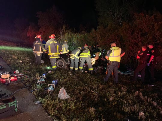 Palm Bay Fire Rescue personnel extracted a driver who was pinned beneath the dashboard of his wrecked vehicle after an Interstate 95 crash early Monday morning.