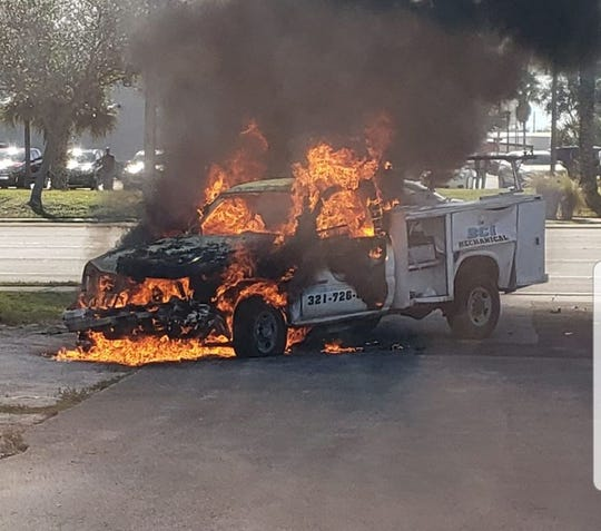 This utility truck caught fire during a Monday morning crash at the intersection of U.S. 1 and State Road 520 in Cocoa.