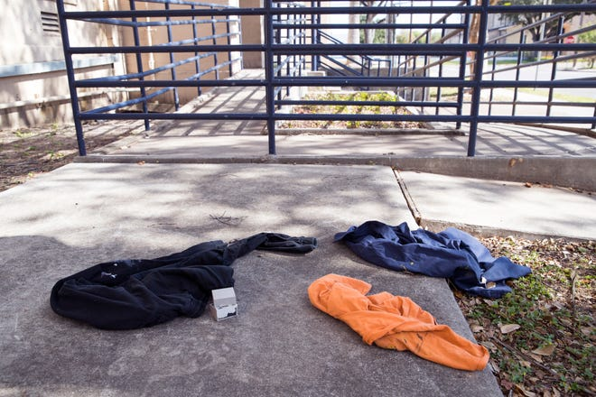 Clothing is left outside the old Lamar Elementary School. The Good Samaritan Rescue Mission has plans to turn the it into a homeless shelter. The planning commission denied the zoning request and the City Council will decide the future of the shelter.