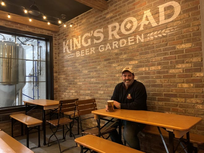 King's Road Brewing Company  Managing Director Bob Hochgertel, one of seven partners in the business, sits in the new  beer garden-style area of the expanded brewery in Haddonfield.