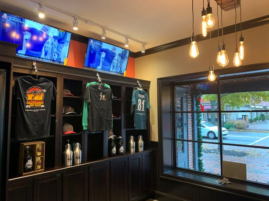 The new gift shop area of the expanded King's Road Brewing Company in Haddonfield will offer shirts, stainless growlers, glassware, hats and more.