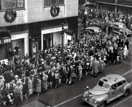 NOVEMBER 29, 1946: Holiday shoppers downtown Cincinnati.