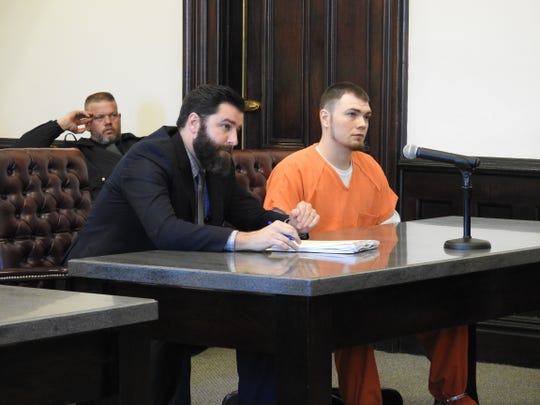 Attorney Jeffery Linn with client Charles D. Kirkpatrick Monday in Coshocton County Common Pleas Court. Kirkpatrick was sentenced to four years in prison, two years mandatory, for charges of drug trafficking relating to a January drug bust.