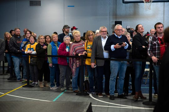 Spectators line up to meet Pete Buttigieg at Southern Prairie YMCA on Nov. 25, 2019 in Creston, Iowa. Buttigieg addressed long-term care and a public Social Security plan in the town of 7,839.