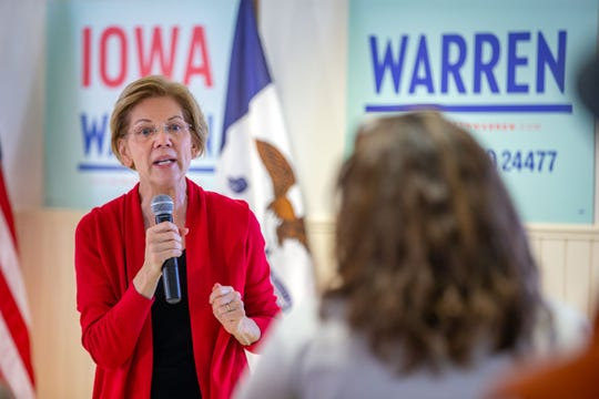 Democratic presidential candidate Sen. Elizabeth Warren, D-Mass., speaks to a group in Ankeny Monday, Nov. 25, 2019.