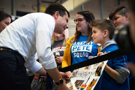 Mayor of South Bend, Ind. Pete Buttigieg meets with spectators at Southern Prairie YMCA on Nov. 25, 2019 in Creston, Iowa. Buttigieg addressed long-term care and a public Social Security plan in the town of 7,839.