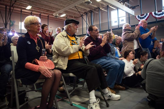 Spectators listen to Pete Buttigieg at Southern Prairie YMCA on Nov. 25, 2019 in Creston, Iowa. Buttigieg addressed long-term care and a public Social Security plan in the town of 7,839.