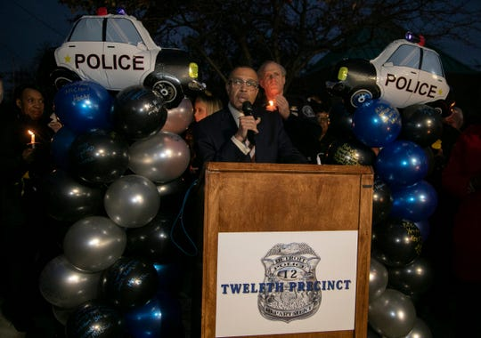 Chief James Craig speaks to members of the community  during a vigil for fallen Detroit police officer Rasheen McClain outside of the 12th Precinct near Palmer Woods Monday Nov. 25, 2019.