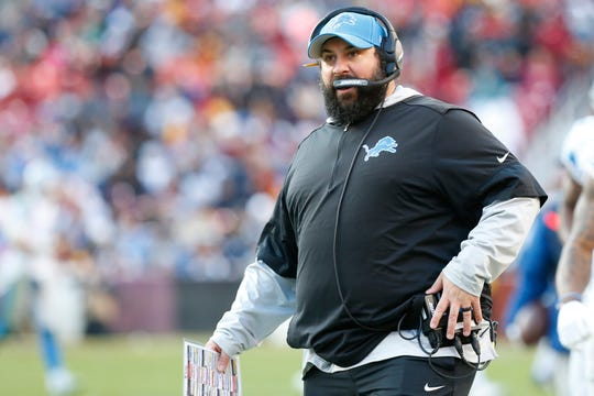 Detroit Lions head coach Matt Patricia during the game against the Washington Redskins in the third quarter at FedExField, Nov. 24, 2019.