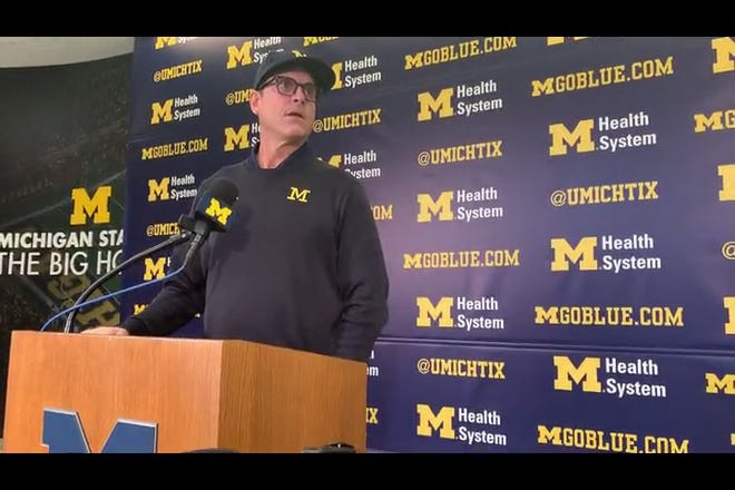 Michigan Wolverines football coach Jim Harbaugh speaks to the media on Monday, Nov. 25, 2019, in Ann Arbor.