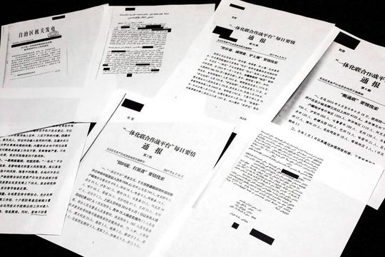 A sample of classified Chinese government documents leaked to a consortium of news organizations, is displayed in New York, Friday, Nov. 22, 2019. Beijing has detained more than a million Uighurs, ethnic Kazakhs and other Muslim minorities for what it calls voluntary job training.