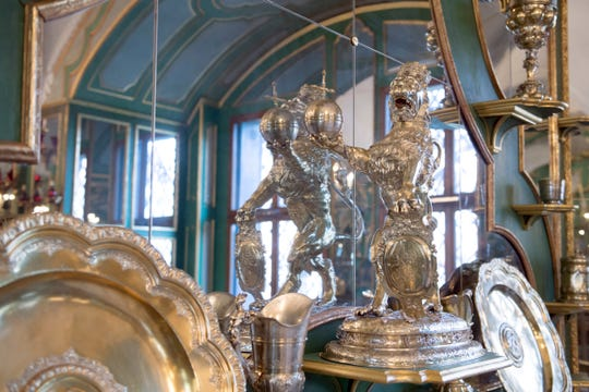 Parts of the collection at Silver Gilt Room, Silbervergoldete Zimmer,  inside Dresden's Green Vault in Dresden.