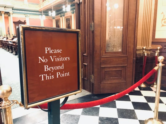The entrance to the Michigan House is shown on Monday, Nov. 25, 2019. Nearly one in every three Michigan state lawmakers who left the Legislature because of term limits at the end of 2018 has taken steps to enter the consulting field, according to an analysis of business filings and state lobby disclosures.