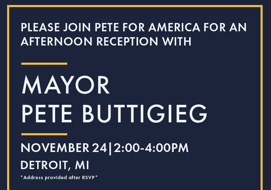 Democratic presidential candidate Pete Buttigieg was in Detroit for a fundraiser on Sunday, Nov. 24, 2019.