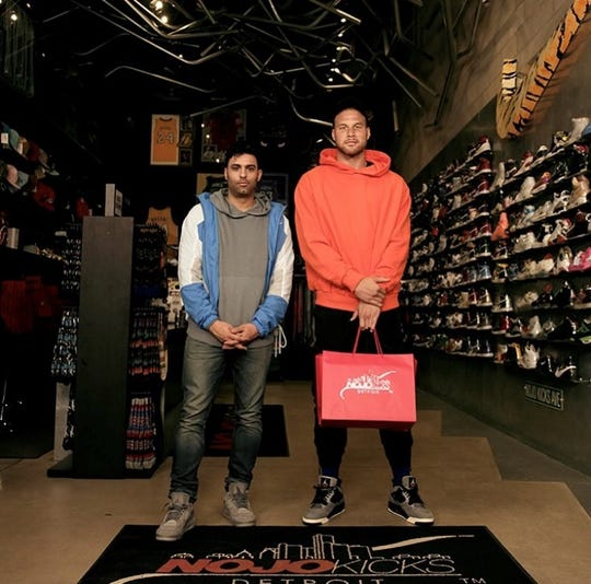 "Joe La Puma and Blake Griffin at Detroit's Nojo Kicks for ""Sneaker Shopping."""