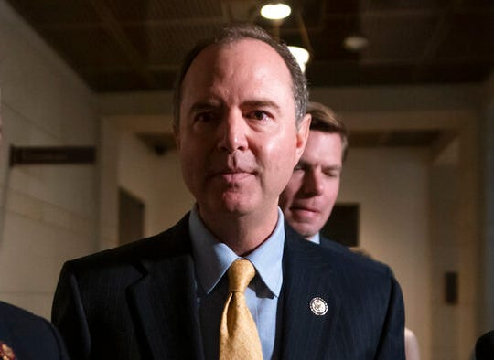 House Intelligence Committee Chairman Adam Schiff, D-Calif., and Rep. Eric Swalwell, D-Calif., return to a secure area at the Capitol after speaking with reporters in this Oct. 28, 2019, file photo.