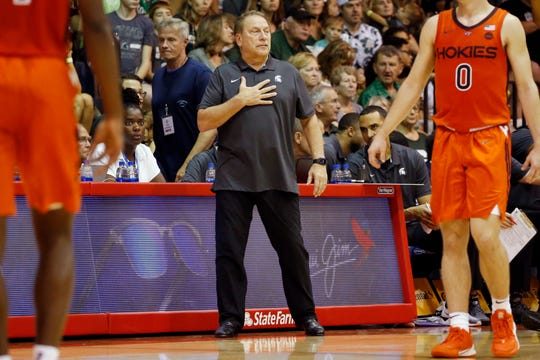 Michigan State head coach Tom Izzo looks on during the first half.