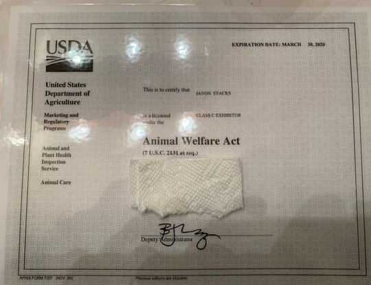 Javon Stacks said the document in the photo is his current animal exhibitor license from the U.S. Department of Agriculture