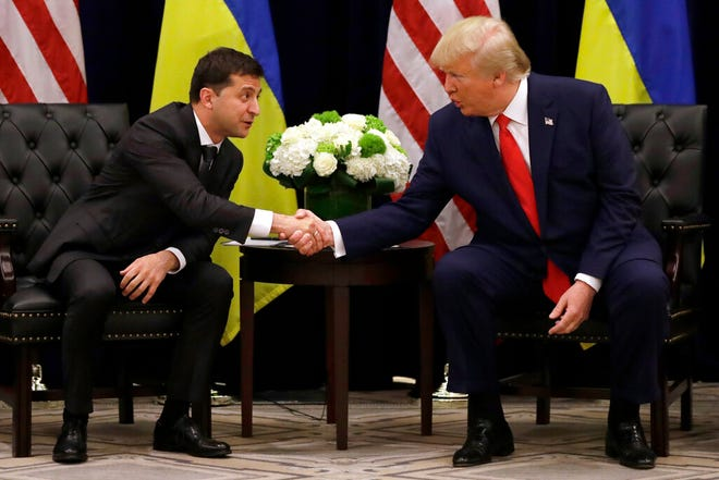 In this Sept. 25, 2019, file photo, President Donald Trump meets with Ukrainian President Volodymyr Zelenskiy at the InterContinental Barclay New York hotel.