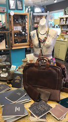 Featured: leather bags and journals on display at Rare Bird