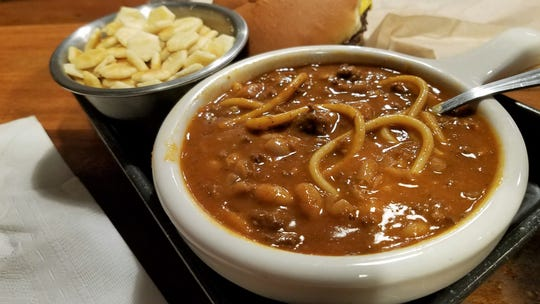 Old-fashioned chili with beans and pasta at Metzger's Tavern in Henderson.