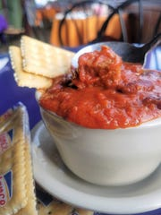 Hot, tomatoey chili from The Deerhead Sidewalk Cafe and Bar.