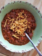 Hearty vegan chili from La Foret inside Cycling Solutions in Newburgh.