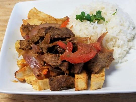 Peru's answer to fajitas: Lomo Saltado at Gollita Peruvian Cuisine.