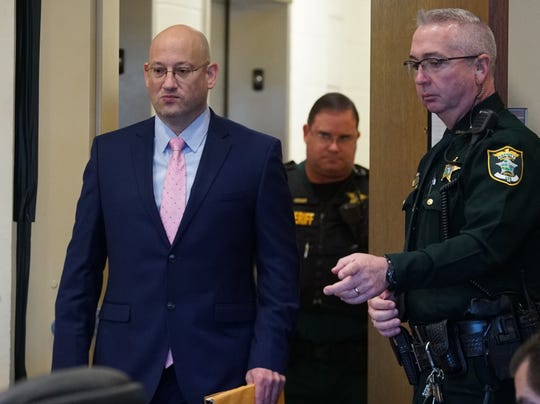Mark Sievers enters the courtroom for his trial of first-degree murder and conspiracy to commit murder for the death of his wife Teresa Sievers, Monday, Nov. 25, 2019, at the Lee County Justice Center in Fort Myers.
