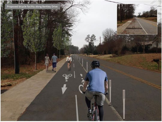 The proposed bicycle facilities of the Green Crescent Trail along Berkley Drive.