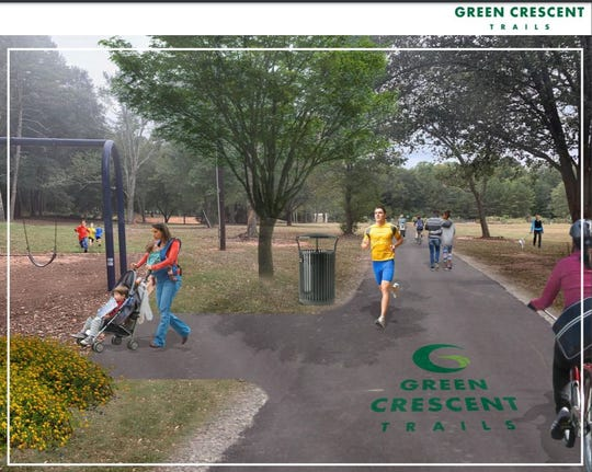 The first section of the Green Crescent Trail would connect Gateway Park to Clemson Park, providing trails and bike paths through one of the city's most residential area.