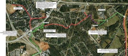 The green, red and purple lines include the Phase I plans for the Green Crescent Trail, which would connect Clemson Park to Gateway Park, then Gateway to Clemson University property and the SC Botanical Garden.
