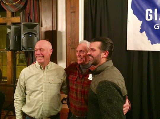 From left, Greg Gianforte, Steve Brennecke of the Bozeman area and Donald Trump Jr. pose Sunday for a photo in Helena.