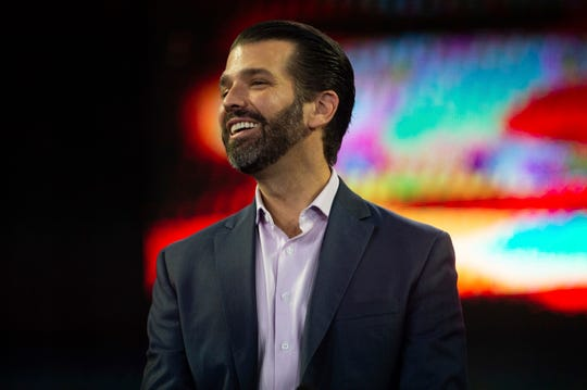 Donald Trump Jr. laughs during convocation at Liberty University on Wednesday, Nov. 13 at the Vines Center.