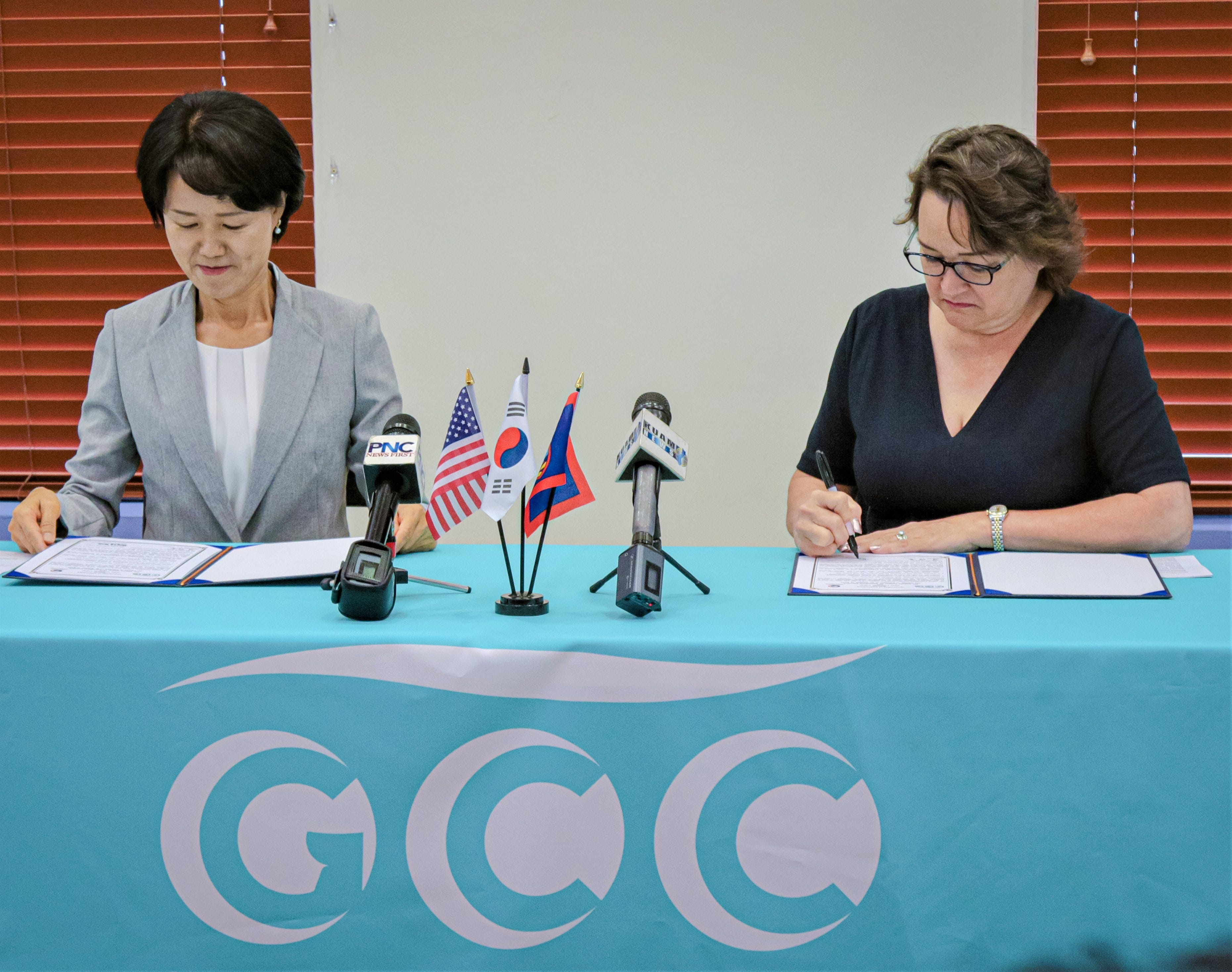 Lim Hee-soon, the Head of Mission for the Consulate of the Republic of Korea and Guam Community College President Mary Okada sign the Korean language test agreement Nov. 25, 2019 at GCC, Mangilao, Guam