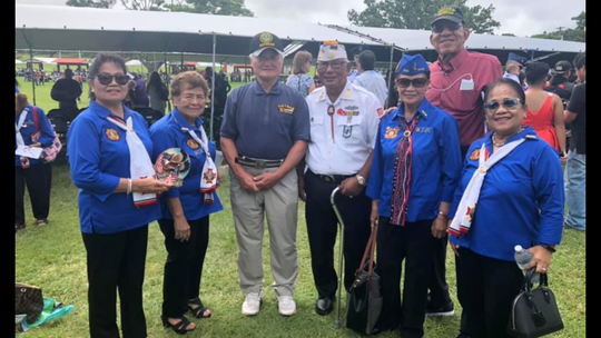 VFW Auxiliary Post 1509 attended the Veterans Day ceremony on Nov. 11 at Ypao Beach Guam. Annie Payne VIP 2019 recipient, Rosie S. Fejeran; president, Korean veteran Kim Wong, Army veteran Ray Baza, Lee Baza, Air Force veteran Richard Payne and Lou Shabazz.