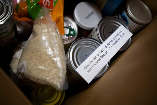 RIFA boxes are filled with rice, can vegetables, pasta and other snacks with meals to provide at the senior center Jackson, Tenn., Wednesday, Nov. 20, 2019.
