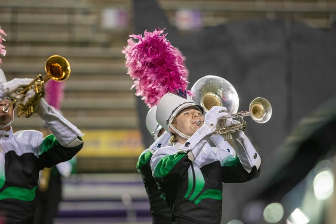 Lafayette High School competes in the annual Classic on the Cane marching band competition at Northwestern State University Nov. 3.