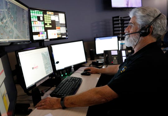 Ted Duffus works at his work station Monday morning, Nov. 25, 2019, at the Fairfield County Sheriff's Office communications office in Lancaster. Duffus has been a dispatcher for 38 years for law enforcement agencies in Ohio and Pennsylvania.