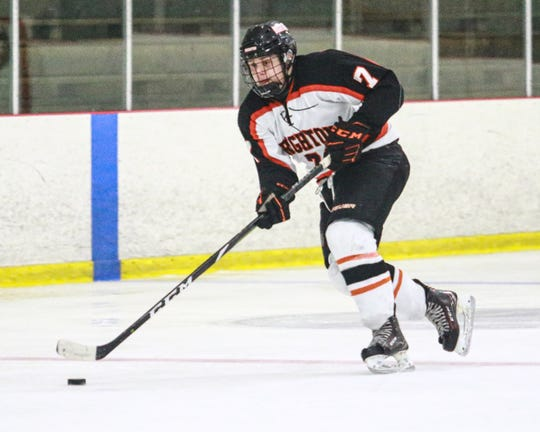 Logan Mitchell-Pietita scored in overtime to give Brighton a 3-2 victory over Saginaw Heritage.