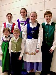 Treehouse Theater's production of Frozen Jr.: Townspeople, back row, from left: Teresa Iannitello and Anna Gallagher; and front row, from left: Grace Nycz, Oliver Onesti, Katie Naegele and Ian Onesti.