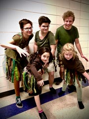Treehouse Theater's production of Frozen Jr. Pictured, from left: Hidden Folk, back row is Elise Doneff, Alice Ehle and Zach Geissle, and front row is Andi Gallagher and Caroline Johanek.